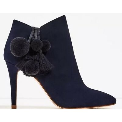 Rare_NWT $139 ZARA AW16 LEATHER HIGH HEEL ANKLE BOOTS WITH POMPOMS BLUE 2105/201