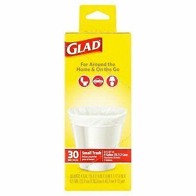 "Glad 30 Small White 4 Gallon Garbage Bags Trash Bags 9/""x8/""x1ft 6/"" Bathroom Bags"