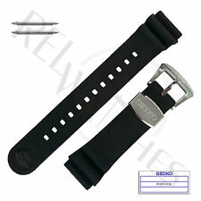 Genuine SEIKO R02F011J0 22mm Black Rubber Band + Pins | SRP PROSPEX Turtle Strap