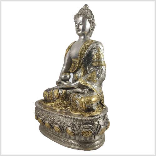 Erleuchteter Buddha Meditationsbuddha Dhyana Mudra 33 cm 4 KG Messing versilbert