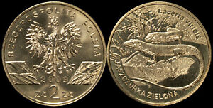 Pologne. 2 Zloty. 2009 (Pièce KM#Y.678 Neuf) Lézard vert européen