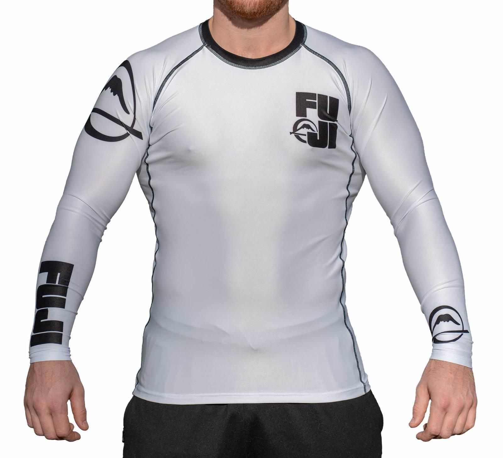 New Big Fuji MMA BJJ Jiu Jitsu LongSleeve Long Sleeve LS Rashguard Rash - White