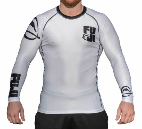 New Big Fuji MMA BJJ Jiu Jitsu LongSleeve Long Sleeve LS Rashguard Rash White