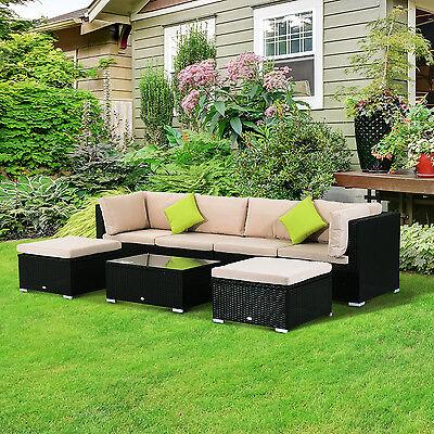 Conjunto Muebles de Jardín de Ratán 7 piezas Mesa Sofás Taburetes con Cojines