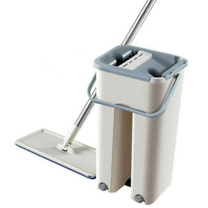 Flat-Squeeze-Mop-And-Bucket-Hands-Free-Wringing-Floor-Cleaning-Microfiber-Mops