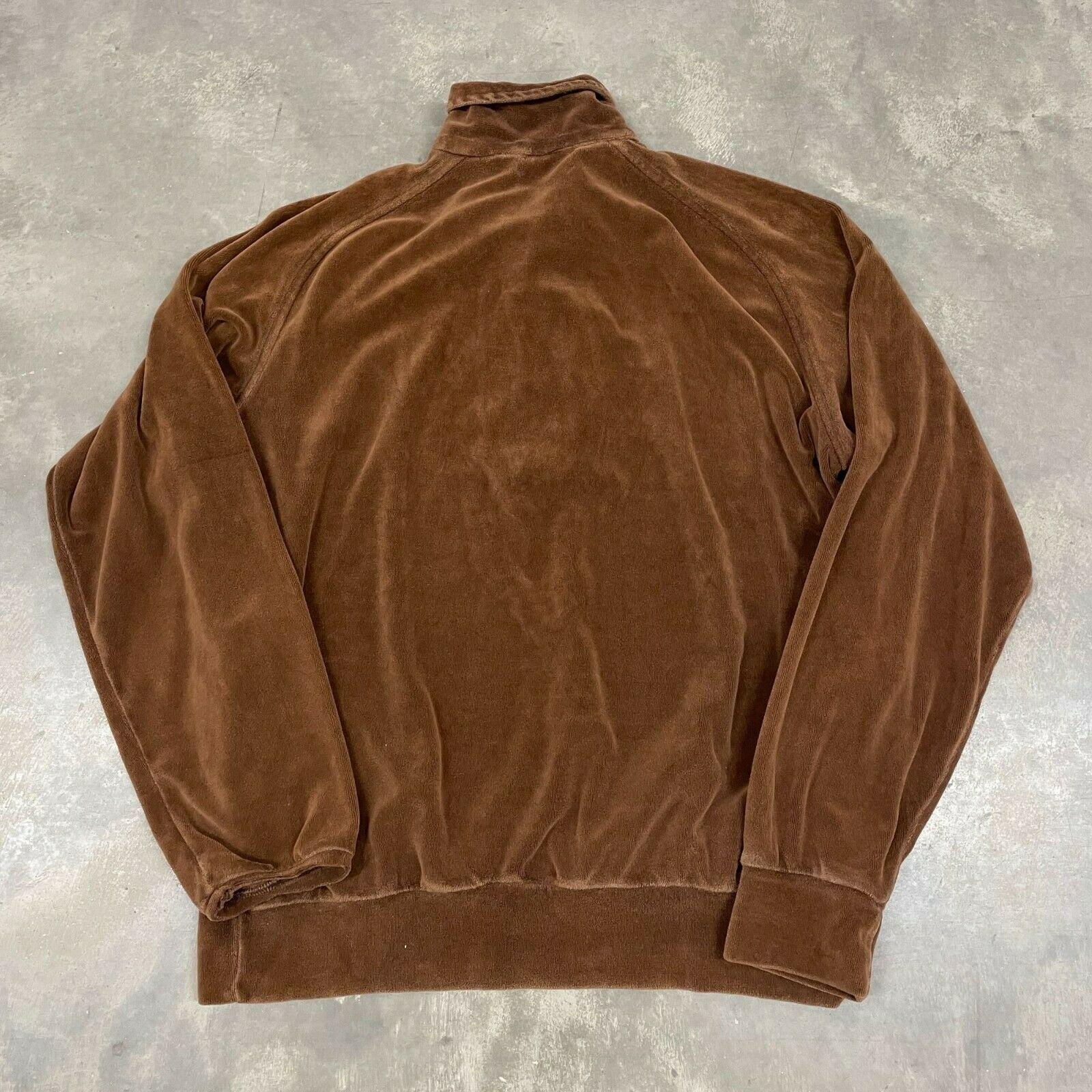 70s VTG Brown Velour Polo Pullover Sweater Cool X… - image 7