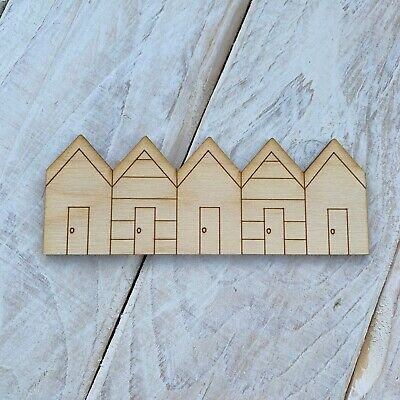 10 Pack Plywood Wooden Blank Craft Shape Beach Hut Row