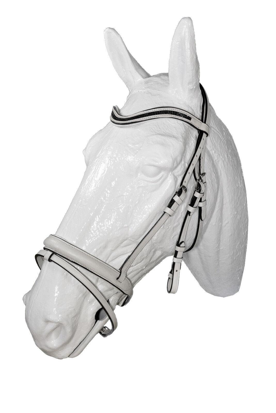 Esperia Dressur Trense Voltegieren COB/Full/Pony weiß Zügel Leder; K25 150