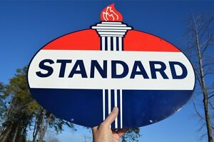 OLD-STYLE-LRG-STANDARD-AMERICAN-MOTOR-OIL-GAS-TORCH-ONE-SIDE-STEEL-SIGN-USA-MADE