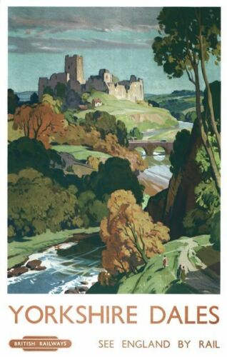 Vintage British Rail Yorkshire Dales Railway Poster A3//A2//A1 Print