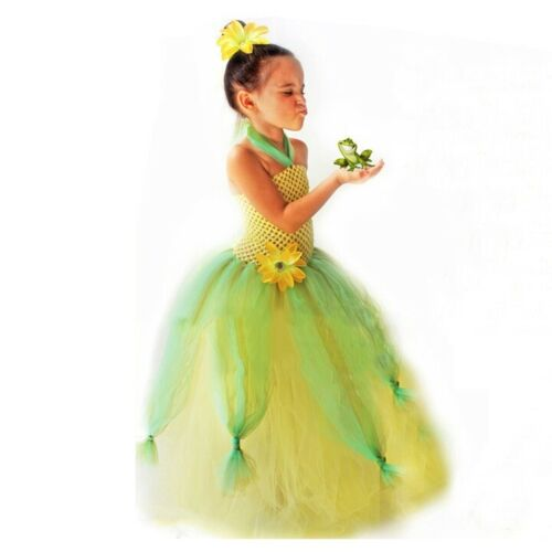 New Girls Princess Cinderella Aurora Jasmine Tiana Tutu Halloween Party Dress