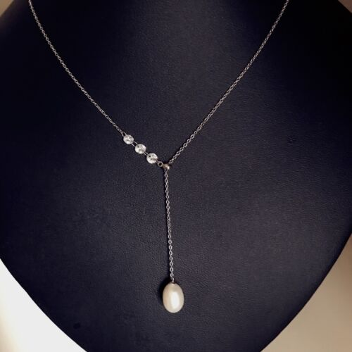 Real Pearl 8-9mm Freshwater Pearl Necklace S925 Necklace Earring Set