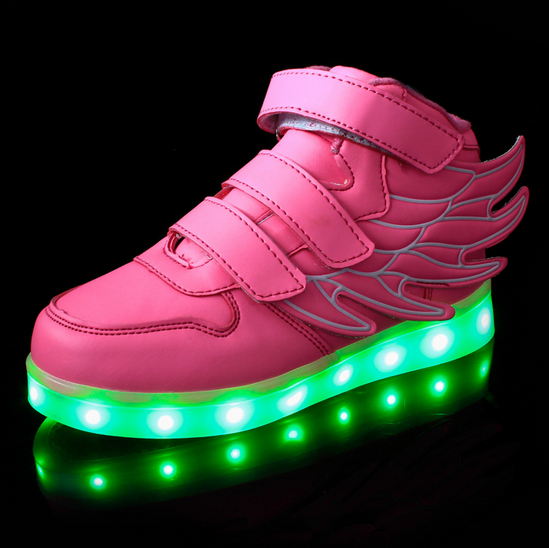 New Boys Girls LED Light up Sneakers Wings Kids high Dance Sport Shoes