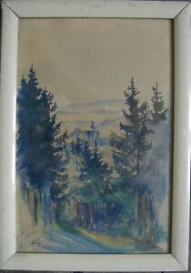 :: Wilhelm Sweet * 1861-1933 Alpine Landscape Nature Watercolour Nature Trees Mountains Art