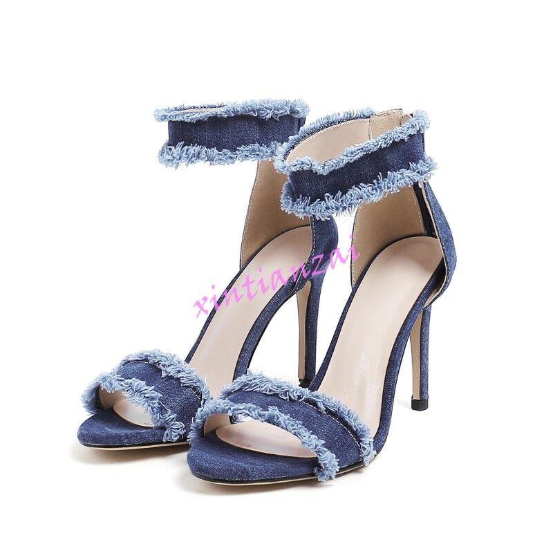 2017 Summer Womens Denim Sandals High Stilettos Heels shoes Retro Pumps Zipper
