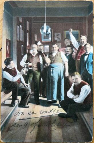 1909 Postcard Bowling Men Drinking Beer, Ball, Alley, Mugs