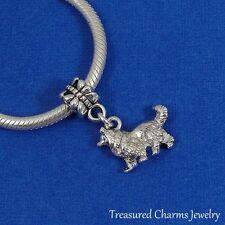 Silver COLLIE Dangle Bead CHARM Sheltie Shetland Sheepdog fits EUROPEAN Bracelet
