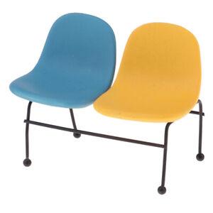 Dollhouse-Miniature-Outdoor-Garden-Metal-Double-Chair-Model-Set-1-12-Scale