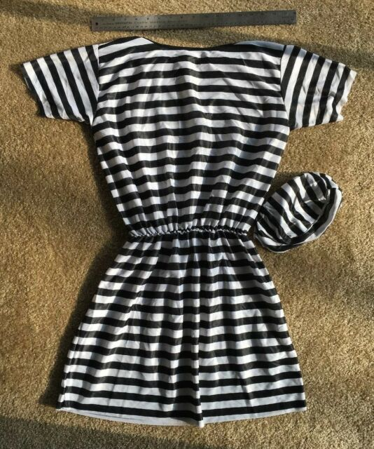 Halloween Women Prisoner Jail Convict Fancy Party Dress Hen Cosplay Costume