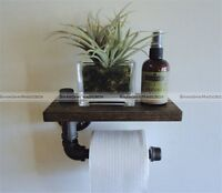 farmhouse chic industrial pipe toilet paper holder with wood oak shelf. Black Bedroom Furniture Sets. Home Design Ideas
