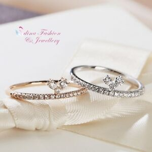 18K-White-amp-Rose-Gold-Plated-Simulated-Diamond-Delicate-knuckle-Ring