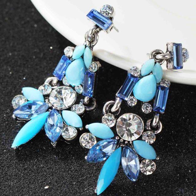 gorgeou Design Lady Bib Statement clear crystal long Ear Studs earrings hot e541