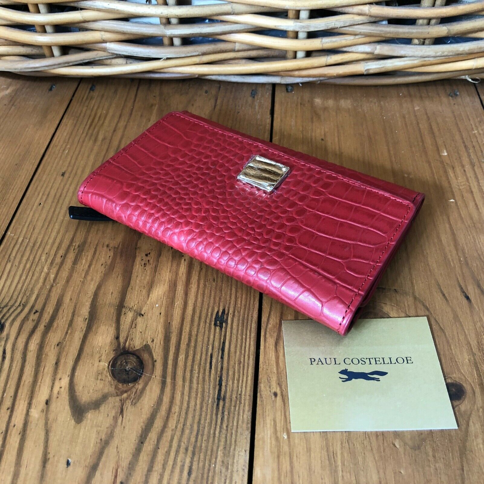 New Paul Costelloe Trifold Purse Wallet Envelope Zip Pouch Leather Red Reptile