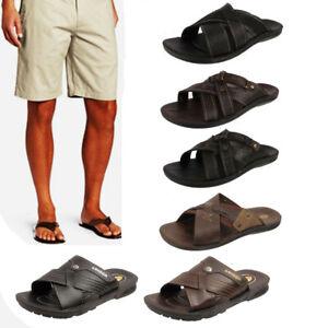 Mens Brown Open Toe Mules Slip On Sandals Flip Flops Sizes UK 7-12 Bruce