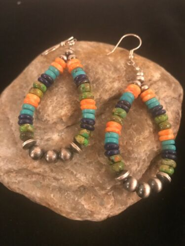 Multicolor Navajo Sterling Silver Bead Spiny Turquoise Lapi Dangle Earrings 8510