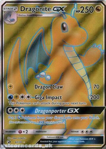 Dragonite GX 67//70 Dragon Majesty Rare Ultra Mint Pokemon Card