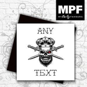 Personalised-039-Skull-King-039-hand-made-tattoo-style-card-Any-text-gem-stone-eye