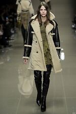 BURBERRY PRORSUM Shearling & Cotton Aviator Runway Trench Coat NWT IT 38 US 4