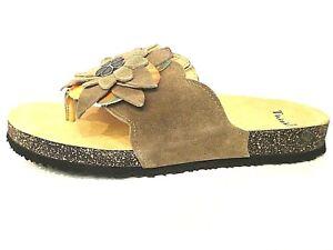 c196f14b23e64e Das Bild wird geladen Think-Schuhe-Pantoletten-Sandalen -Zehensteg-Dufde-beige-kred-