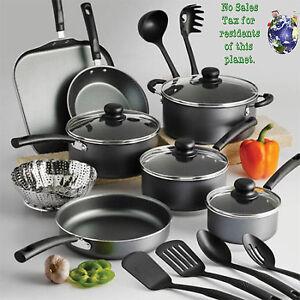 18 Piece Nonstick Cookware Set Pans Pots Spoons Turners Kitchen Set