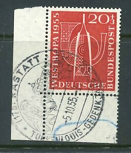 BRD-Mi-Nr-218-Ecke-3-Eckrand-gestempelt