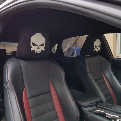 NEW Pair White Skull Headrest Cover Elastic Fabric For Audi Car SUVs