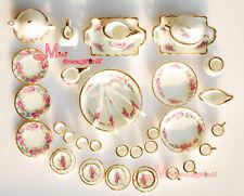 Dollhouse Miniature  Porcelain Rose Tea Dinner Set 40PCS