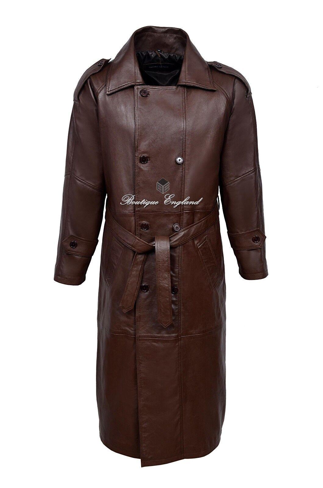 Herren Long Coat Leder Braun   Classic Double Breasted Style 100% Leder (6965)