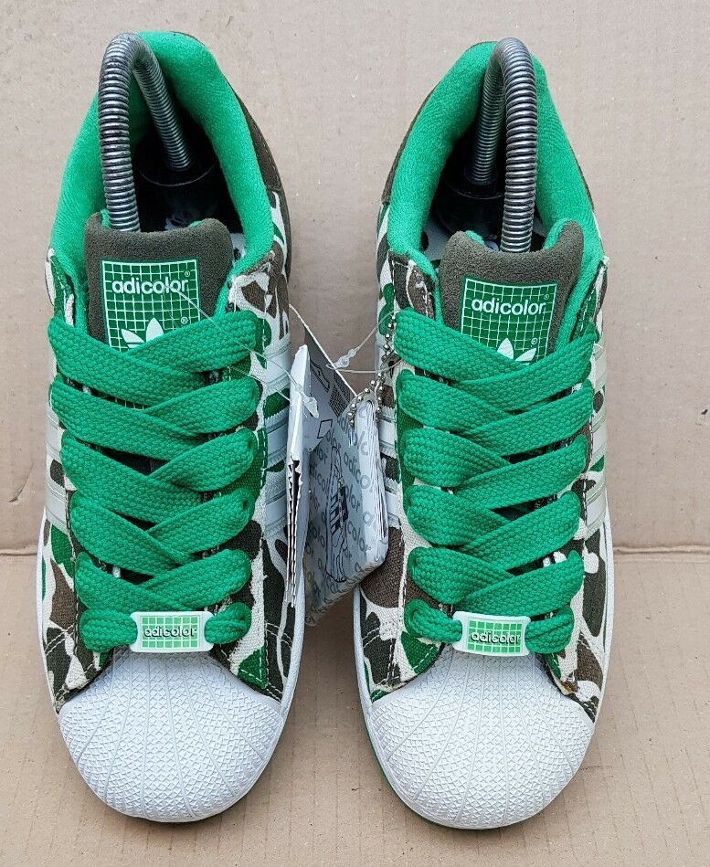 BNIB DEADSTOCK CAMO RARE ADIDAS SUPERSTAR GREEN CAMO DEADSTOCK G5 SERIES TRAINERS SIZE 4.5 UK 00ebfb