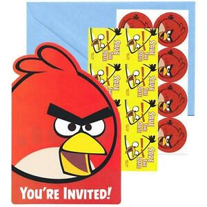 Angry Birds Movie Save The Date Invitations 8 Count Birthday Party