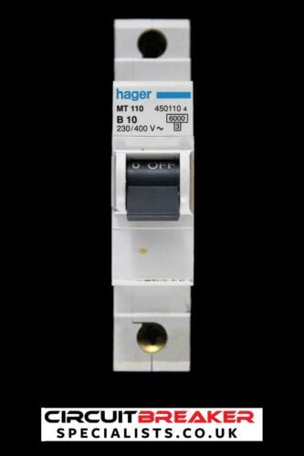Hager 10 Amp Tipo B 6 Ka Reja de desminado Disyuntor MT110 450110