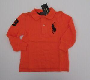NWT-Ralph-Lauren-Boys-Long-Sleeved-Big-Pony-Solid-Mesh-Polo-Shirt-Sz-5-6-7-NEW