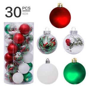 Details about  /30Pcs Christmas Tree Shatterproof Hanging Balls Ornaments Xmas Decoration 6cm
