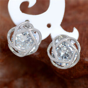 1-Par-Charming-Clasico-Pendiente-de-boton-Plata-Cristal-Regalo-Navidad