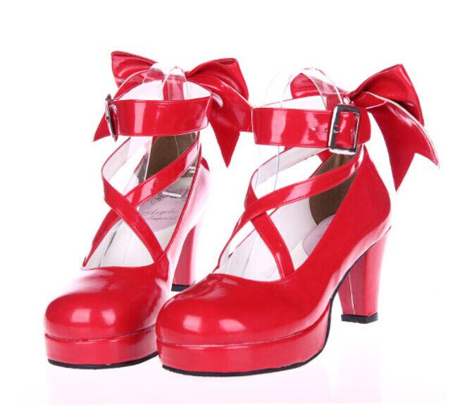 in vendita Plus Dimensione donna Bowtie Bowtie Bowtie Block Heels Round Toe Lolita Mary Janes Cosplay scarpe  in vendita scontato del 70%