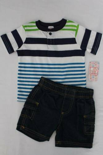 NEW Boys 2 piece Outfit Size 12 Months Striped Henley Shirt Denim Shorts Set