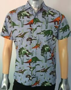 Run-amp-Fly-Men-039-s-Dinosaur-Adventure-Print-Short-Sleeve-Shirt-Retro-50-039-s-60-039-s-70-039-S