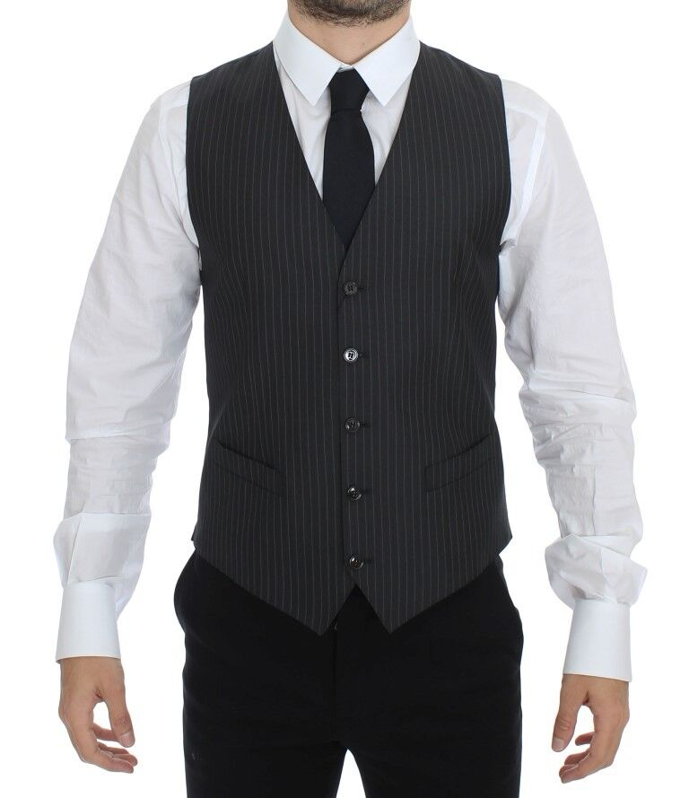 NEW 460 DOLCE & GABBANA Vest Waistcoat grau Striped Wool Silk IT46 / US36 / S