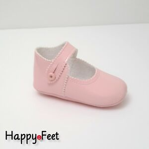 BABY GIRL SPANISH STYLE PATENT PINK PRAM SHOES WITH BOW DETAIL 6-12months