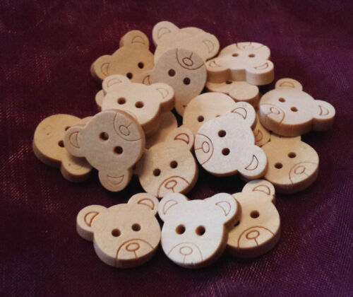 20 Holzknöpfe Knopf natur Teddybären 12 mm 3 mm dick mit 2 Äuglein 1 mm